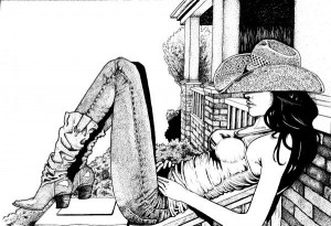 Vaqueira - Cowgirl on the porch - Joeri Van Royen